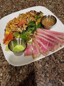 Seared Tuna, Salad, Wasabi Dipping Sauces