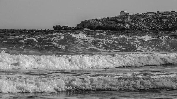 Sea, Waves, Scenery, Cape, Chapel, Rocks, Beach, Shore