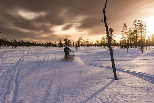 Lapland, Polar Winter, Snowmobile, Winter, Sport
