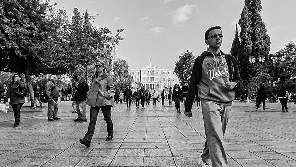 Black And White, Street, Walking, Syntagma, Athens