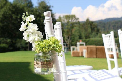 Chairs, Garden, Wedding, Trim, Flowers, White, Bottle