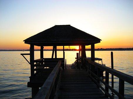 Sunset, Dock, Pier, Water, Sky, Travel, Sea, Summer