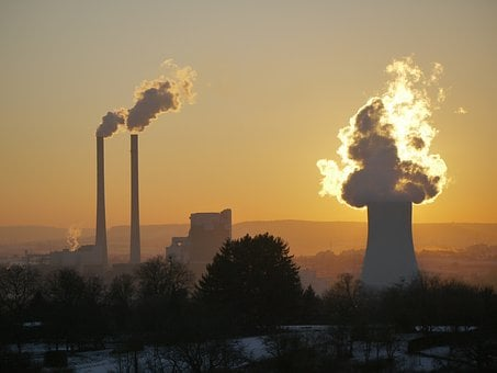 Power Plant, Industry, Flame, Backlighting, Dusk