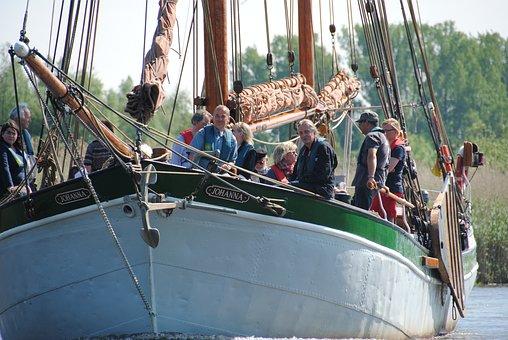 Boat, Oldtimer, Harbour Festival, Buxtehude, Sun, River