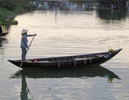 Viet Nam, Hoi-an, Boat, Evening, Light