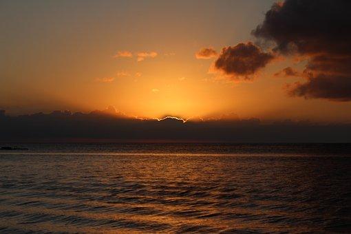 Sun, Sunset, Mauritius, Hotel, Sea, Swimming Pool, Swim