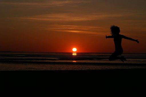 Sunrise, Women's, Beach, Red, Jump, Silhouette, Sea