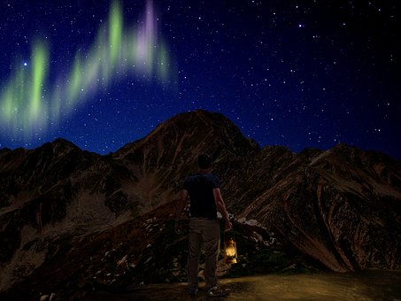 Northern Lights, Mountain, Maintains, Landscape