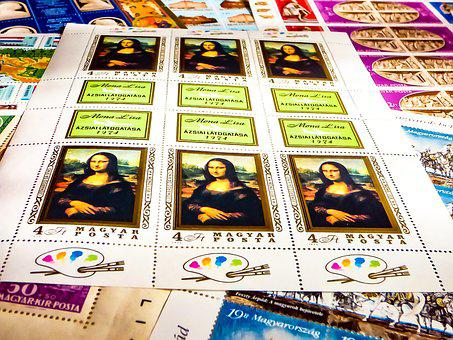 Stamp, Postal, Collection, Mona Lisa, Hungarian, Hobby