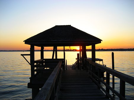Sunset, Dock, Pier, Water, Sky, Travel, Sea, Summer