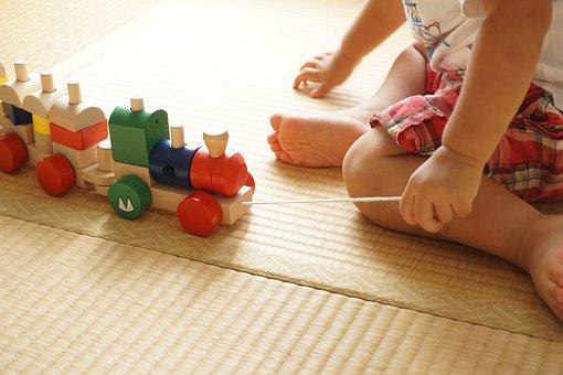 Toddler, Building Block, Pull, Pulling, Tatami Mats