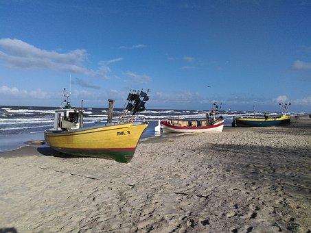 Rewal, Boats, Cutter, Sea, Haven, Landscape, Ship