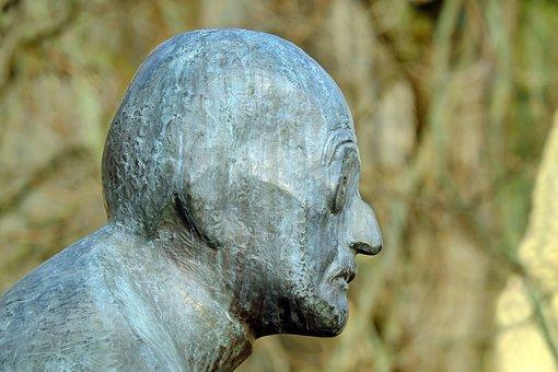 Sculpture, Bronze, Portrait, Max Planck