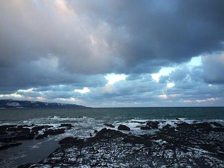 Japan Sea, Winter Road, Hokkaido, Sea, It Was Cloudy