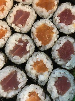Sushi, Fish, Dinner, Snack, Rice, Orange, Pink, Seafood