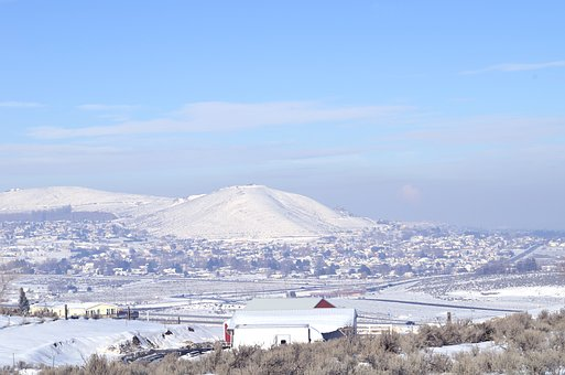 Winter, Desert, Sagebrush, Landscape, Nature, Snow