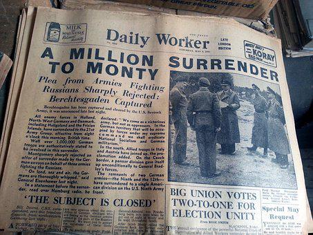 Old Newspaper, Daily Worker, Surrender, May 5th 1945