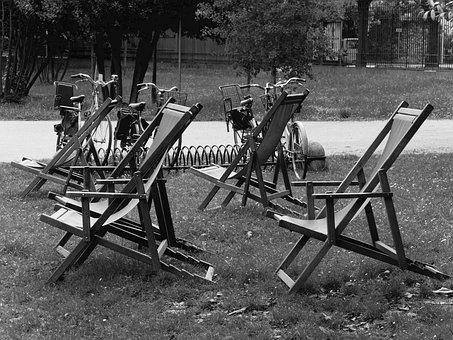 Deck Chairs, Park, Summer, Landscape, Outdoor, Wooden