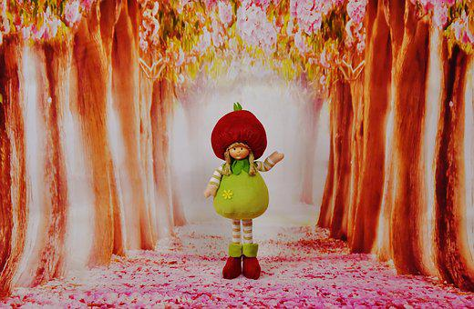 Spring Imp, Forest, Flowers, Trees, Funny, Cute, Fig