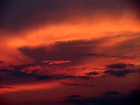 Sunset, Wolkenspiel, Clouds, Sky, Evening Sky