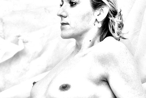 Female Torso, Face, Breasts, Breast, Bw