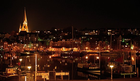 Port, Flensburg, Bay, Fjord, Night, Citylights, Water