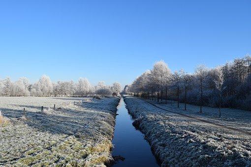 Delmenhorst, Anne Dig, Winter, Frost, Hoarfrost, Sky