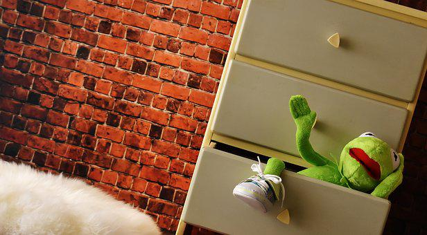Chest Of Drawers, Cabinet, Drawer, Kermit, Plush, Funny