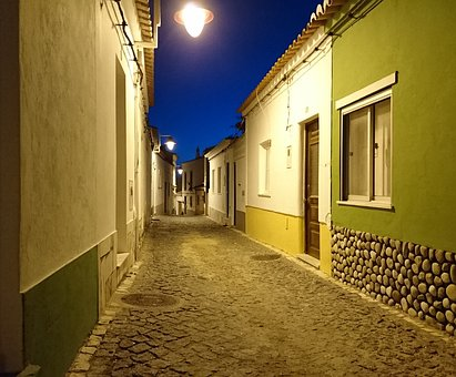 Fishing Village, Alley, Homes, Night, Mediterranean