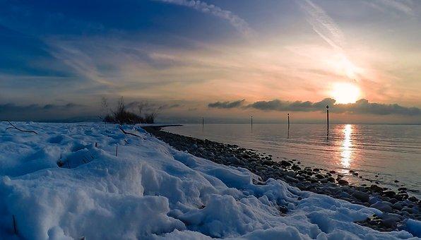 Winter, Lake Constance, Snow, Water, Lake, Nature