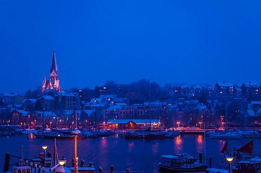 Port, Church, Night, Winter, Lights, Boats, Ships