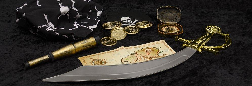 Pirates, Telescope, Treasure Map, Sabre, Treasure