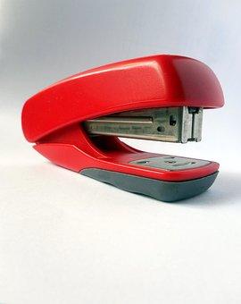 Red, Office, Stationery, Stapler, Desk, Grey, Paper