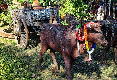 Ox Cart, Sculpture, Scene, Vehicle, Wagon, Wheel, Cow