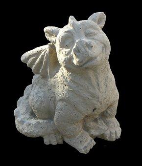 Dragon, Sculpture, Stone, Horticulture, Outside Art