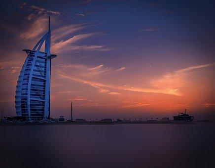 Dubai, Hotel, Sea, Sunset, Sky, Burj-al-arab