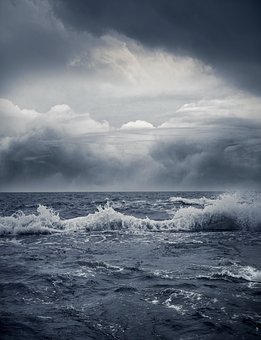 Ocean, Heaven, Blue Clouds, Dark Clouds, Stormy Sky