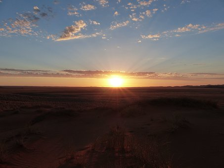 Sunset, Namibia, Africa, Sky, Evening, Sun, Mood