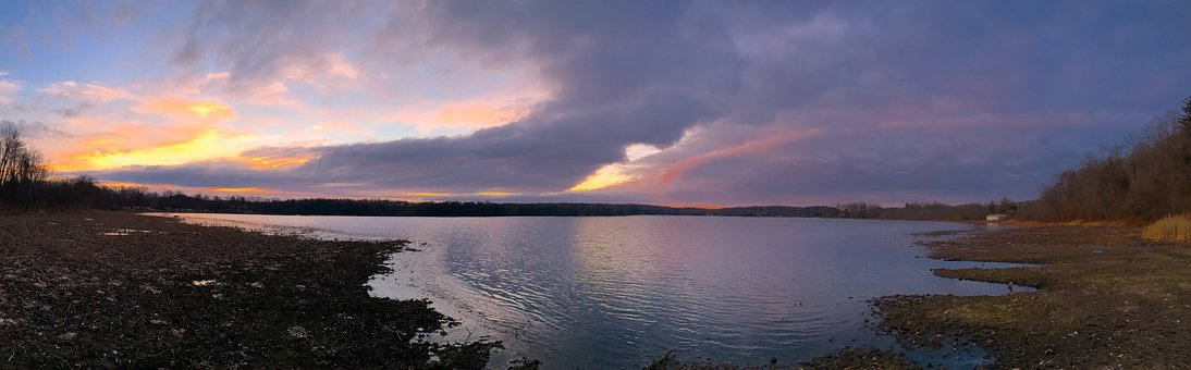 Lake, Sunrise, Clouds, Water, Nature, Landscape, Sky