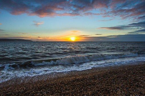 Sunset, Ocean, Coast, Keyhaven, England