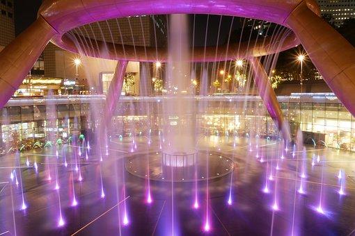 Singapore, Suntec City, Fountain, Night Scene