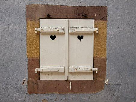 Window, Shutters, Heart, Closed, Stone, Wall, White