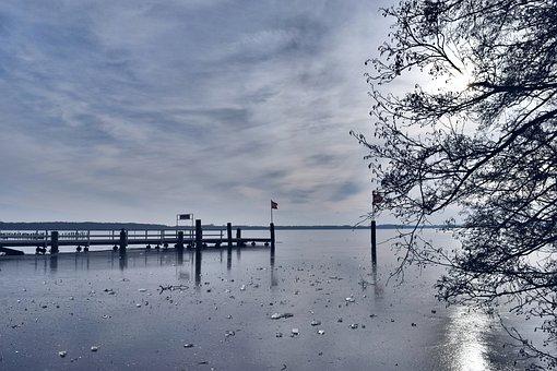 Bad Zwischenahn, Zwischenahner Meer, Lake, Ice, Winter