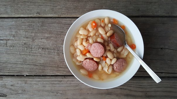 Soup, Sausage, Beans, Dish, Round, Bowl, Wood, Rustic