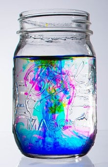Glass, Jar, Abstract, Water, Food Coloring, Swirl, Blue