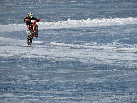 Motorcycle, Wheelie, Stunt, Tricks, Brave, Ice