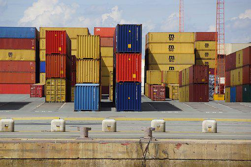 Antwerp, Quay, Containers, Air, Port, Clouds, Belgium