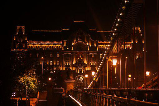Budapest By Night, Danube Bridge Lights, Landscape