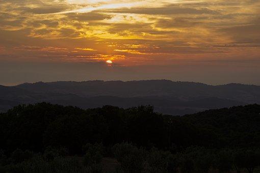 Evening Sky, Italy, Tuscany, Sunset, Abendstimmung, Sky