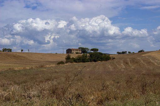 Tuscany, Italy, Landscape, Agriculture, Sky, Clouds